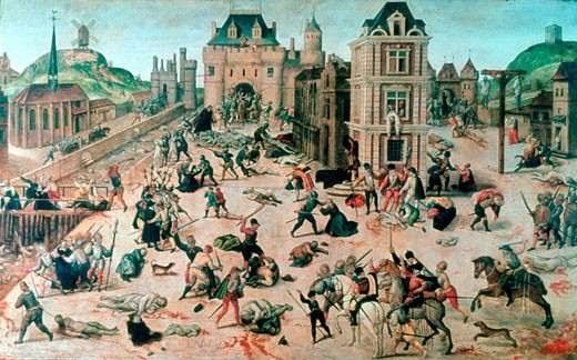 Stock Photo: 1746-3022 St, Bartholomew's Day Massacre, Le massacre de la Saint-Barth?lemy, 16th Century, Fran?ois Dubois,  1529-1584, French,  Mus?e Cantonal Des Beaux-Arts, Lausanne, Switzerland