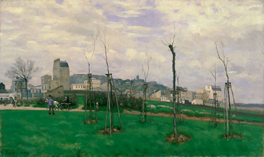 Stock Photo: 1746-3052 View of Montmartre from the Cit? des Fleurs, 1869, Alfred Sisley, (1839-1899/French), Mus?e des Beaux-Arts, Grenoble, France