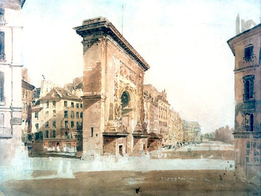 Stock Photo: 1746-3081 La Porte St Denis, Paris, 1800, Thomas Girtin,  1775-1802 British,  Watercolor on paper, Victoria and Albert Museum, London