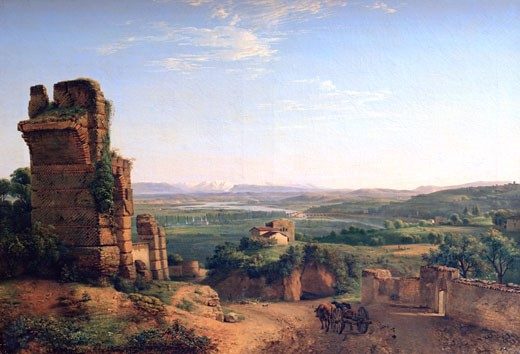 Stock Photo: 1746-3088 Roman aqueducts seen on the slopes of Saint Just, Jean Michel Grobon, (1770-1853/French), Musee des Beaux Arts, Lyon