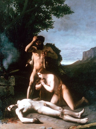 Adam and Eve finding the Body of Abel 1858 Jean Jacques Henner (1829-1905 French) : Stock Photo