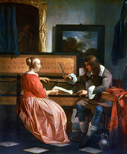 A Man and a Woman seated by a Virginal, c.1665, Gabriel Metsu, (1629-1667/Dutch), Oil on oak, National Gallery, London, England : Stock Photo