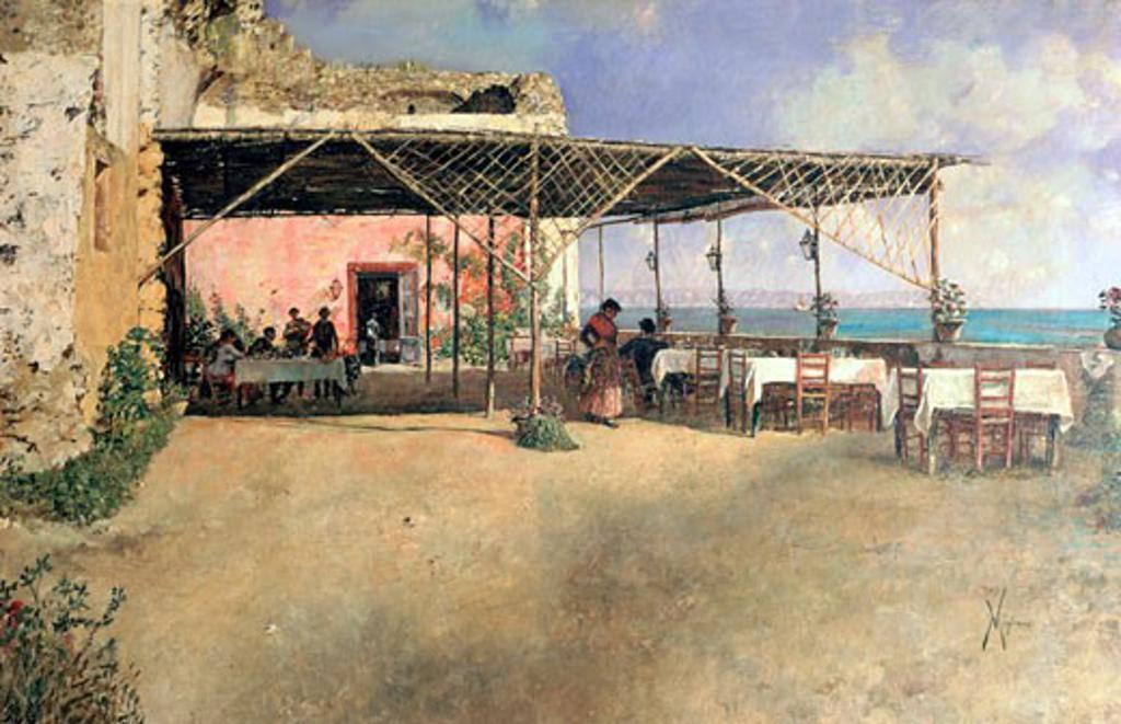 Una taverna a Posillipo, 1886, Vincenzo Migliaro, (1858-1938/Italian), Museo Pignatelli, Naples : Stock Photo