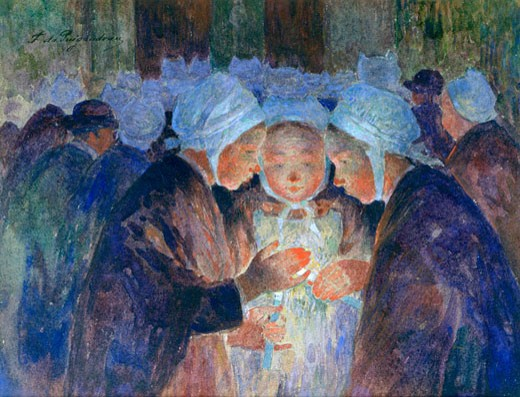 Stock Photo: 1746-3202 Young People from Breton before a Procession, Fernand  Puigaudeau, (1864-1930/French)
