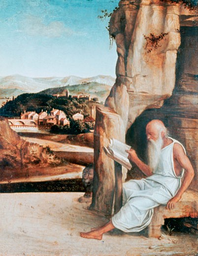 St. Jerome Reading in a Landscape Giovanni Bellini (c1430-1516 Italian) Ashmolean Museum, University of Oxford : Stock Photo