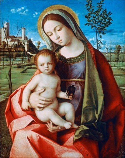 Stock Photo: 1746-3204 Madonna and Child ca. 1510 Workshop of Giovanni Bellini Oil on wood Metropolitan Museum of Art, New York