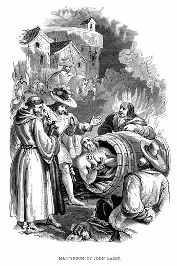 Stock Photo: 1746-321 Burning of John Badby (d1410) at Smithfield, London, for heresy. A tailor from Worcester, he was a Lollard and follower of Wycliffe. Denied transubstantiation. 1848 Wood engraving