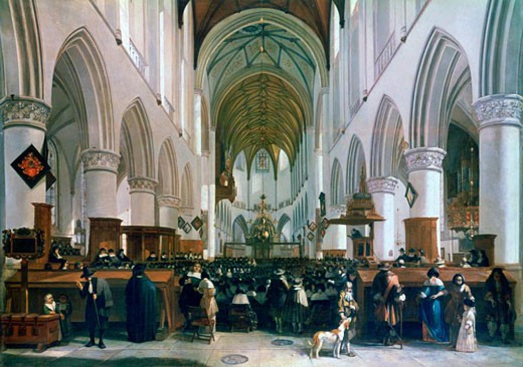Stock Photo: 1746-3212 Interior of the Grote Kerk, Haarlam 1673 Gerrit A. Berckheyde (1638-1698 Dutch) Oil on oak National Gallery, London