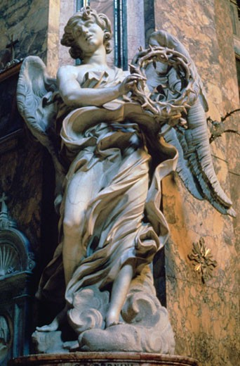 Angel with the Crown of Thorns, 1667-1669, Gian Lorenzo Bernini, (1598-1680/Italian), Marble, Sant'Andrea della Fratte, Rome : Stock Photo