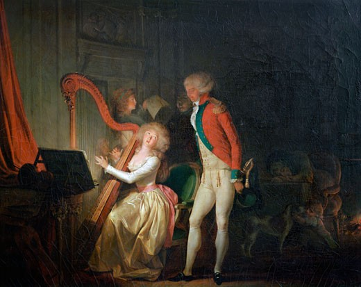 The Improvised Concert, or The Price of Harmony, 1790 , Louis Leopold Boilly, (1761-1845 French), Musee de l'Hotel Sandelin, Saint-Omer, France : Stock Photo
