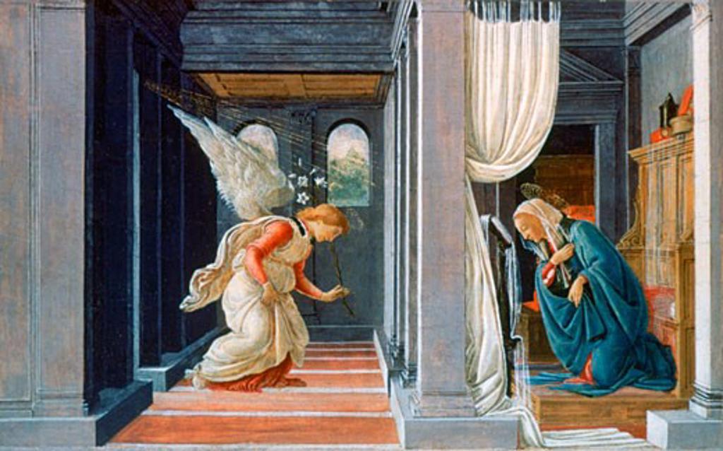 The Annunciation ca.1485 Sandro Botticelli (1444–1510 Italian) Tempera and gold on wood Metropolitan Museum of Art, New York : Stock Photo