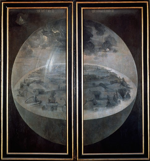 Stock Photo: 1746-3240 The Creation of the World (On the closed doors of the triptych The Garden of Earthly Delights) c1500 Hieronymus Bosch (ca.1450-1516 Netherlandish) Museo del Prado, Madrid