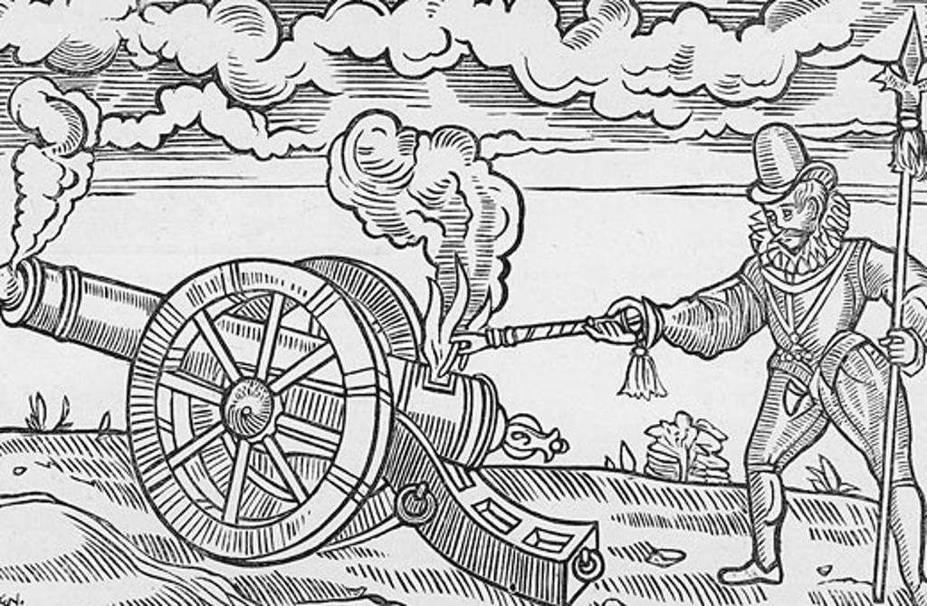Stock Photo: 1746-3319 Master gunner firing a cannon from Edward Webbe 'Travels',  woodcut,  1590