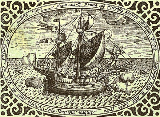 Stock Photo: 1746-3324 Ferdinand Magellan's ship Victoria,  Magellan led the first voyage of circumnavigation (1519-1522)