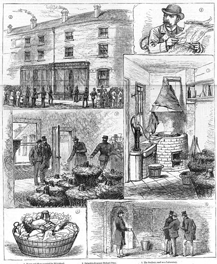 Fenian explosives conspiracy,  1883,  Police discovery of nitro-glycerine factory, : Stock Photo
