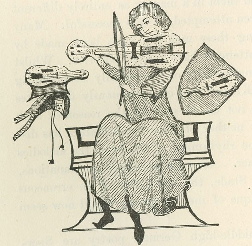Stock Photo: 1746-3353 Reinmar of Hagenau or the Elder,  12th century German Minnesinger playing a small stringed instrument,  wood engraving,  after a 13th century manuscript