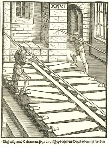 Stock Photo: 1746-3363 Blowers working the bellow organ by Michael Praetorius from Syntagma Musicum,  woodcut,  1614?20