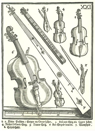 Stock Photo: 1746-3364 Violins and related instruments by Michael Praetorius from Syntagma Musicum,  woodcut,  1614?20