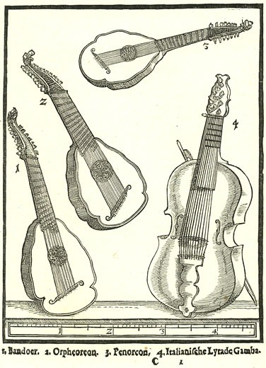 Stock Photo: 1746-3365 Stringed Instruments by Michael Praetorius from Syntagma Musicum,  woodcut,  1614?20