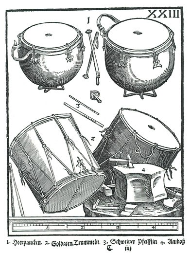 Stock Photo: 1746-3366 Percussion Instruments by Michael Praetorius from Syntagma Musicum,  woodcut,  1614?20