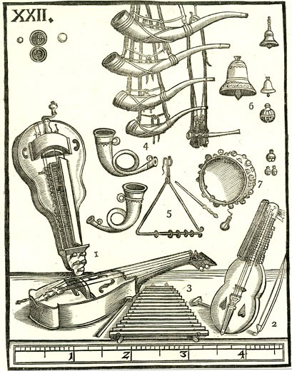 Stock Photo: 1746-3367 Various musical instruments by Michael Praetorius from Syntagma Musicum,  woodcut,  1614?20