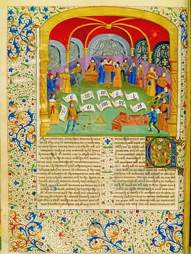 Stock Photo: 1746-3378 Orchestra and Singers,  French manuscript,  15th century