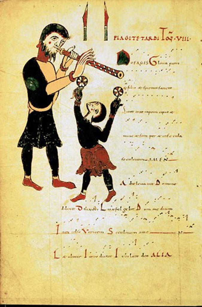 Stock Photo: 1746-3383 Jongleur and acrobat or juggler,  manuscript,  11th century