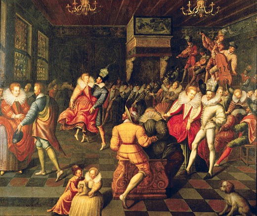 Ball at Valois Court,  French school,  16th century : Stock Photo