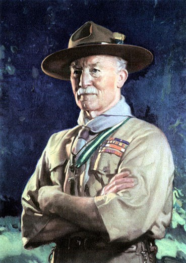 Portrait of Robert Baden-Powell,  1st Viscount and English soldier,  founder of Boy Scouts and Girl Guides,  artist unknown,  19th century,  20th century : Stock Photo