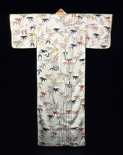 Lady's Kimono of embroidered white satin,  Edo period,  19th century : Stock Photo