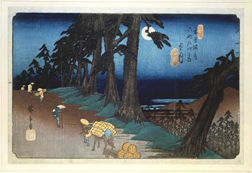 Stock Photo: 1746-3424 Mochizuki,  Full Moon,  from the Sixty-nine Stations of the Kisokaido Road by Ando Hiroshige,  1797-1858,  also called Ando Tokutaro,  colored woodblock print