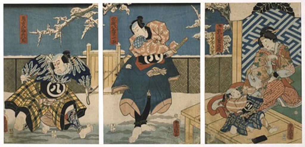 Stock Photo: 1746-3434 Scene from Kabuki theatre performance by Utagawa Kunisada,  1786-1864,  triptych,  colored woodblock print