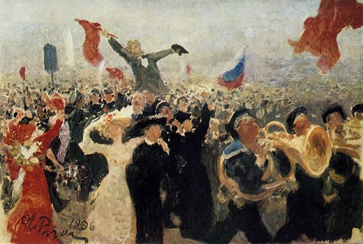 Stock Photo: 1746-3462 Demonstration of 17 October 1905,  crowd reaction to Nicholas IIs Manifesto on the Improvement of the State Order by Ilya Repin,  1844-1930 Russian