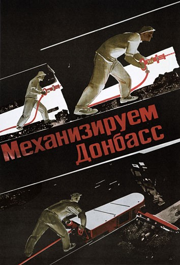 Stock Photo: 1746-3469 Russian coal miners working underground,  poster,  circa 1930