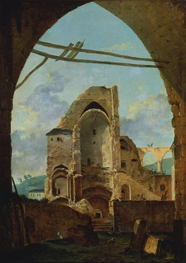Stock Photo: 1746-3475 Demolition of the Abbey of Montmartre by Louis Gabriel Moreau,  c1740-c1806,  French