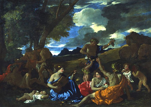 Andrians or The Great Bacchanal with Woman Playing Lute by Nicolas Poussin,  1594-1665 French,  oil on canvas,  1628 : Stock Photo