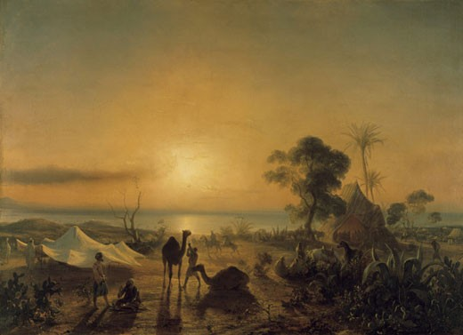 Stock Photo: 1746-3501 14 June 1830 Camp at Staoueli,  The Aga Ibrahims Tent by Jean Antoine Theodore Gudin,  1802-1880 French