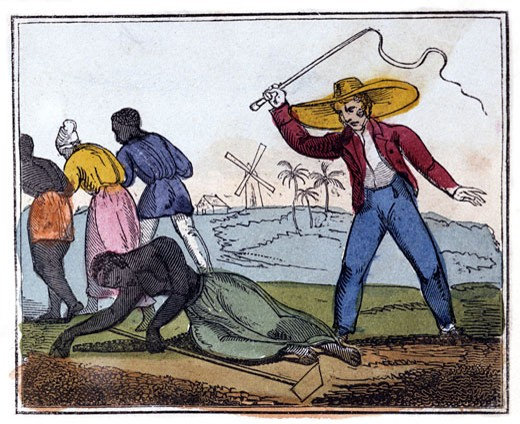 The Exhausted Slave Whipped,  from The Black Man's Lament; or How to Make Sugar,  by Ameilia Opie,  England,  London,  1826 : Stock Photo