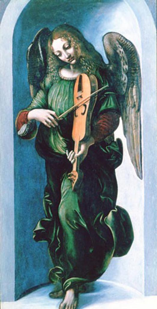 Stock Photo: 1746-3534 Angel in green playing a lute,  oil on wood,  School of Leonardo da Vinci,  1490