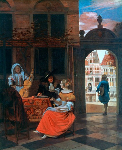 A Music Party by Pieter de Hooch,  1629-1684 Dutch,  17th Century : Stock Photo