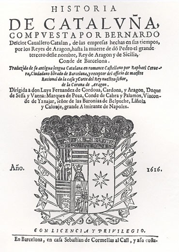 Stock Photo: 1746-3541 Title page of 'Historia de Catalanya from Catalan chronicler,  by Bernardo Desclot,  Spain,  Barcelona,  1616