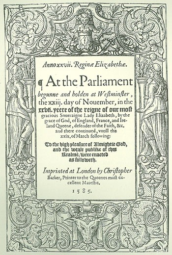 Title page of Acts of Parliament,  1585 : Stock Photo
