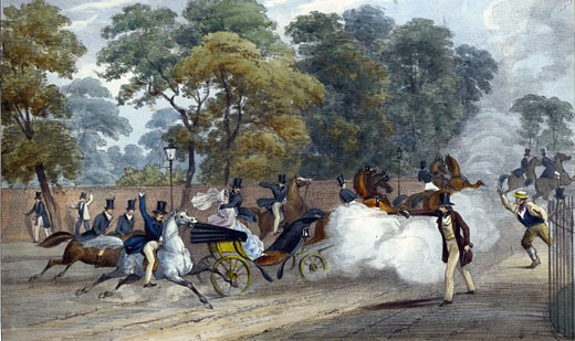 Attempted assassination of Queen Victoria on the 10 June 1840,  hand-colored lithograph : Stock Photo
