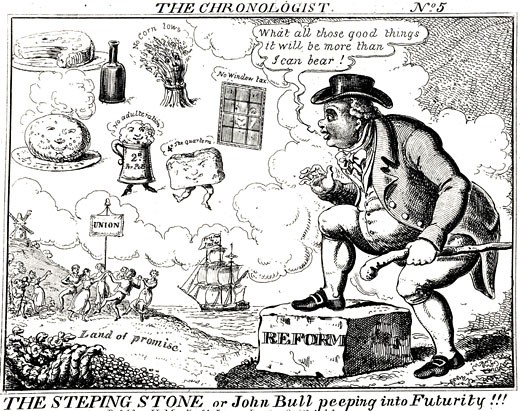 Stock Photo: 1746-3619 John Bull looking forward to Land of Promise by JL Marks,  cartoon,  1832