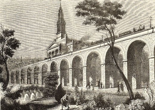 London and Greenwich Railway,  wood engraving,  Illustration from 'The Penny Magazine',  London,  9 January 1836 : Stock Photo