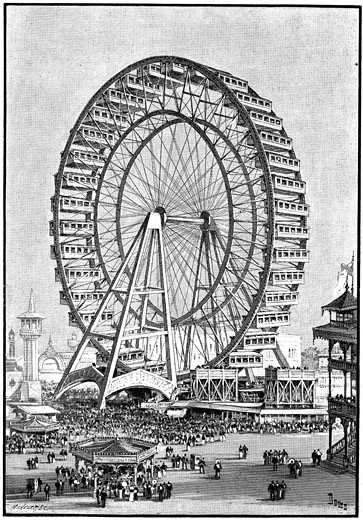 Stock Photo: 1746-378 International Exhibition, Chicago, USA, 1893. The giant Ferris wheel.  Illustration 1893