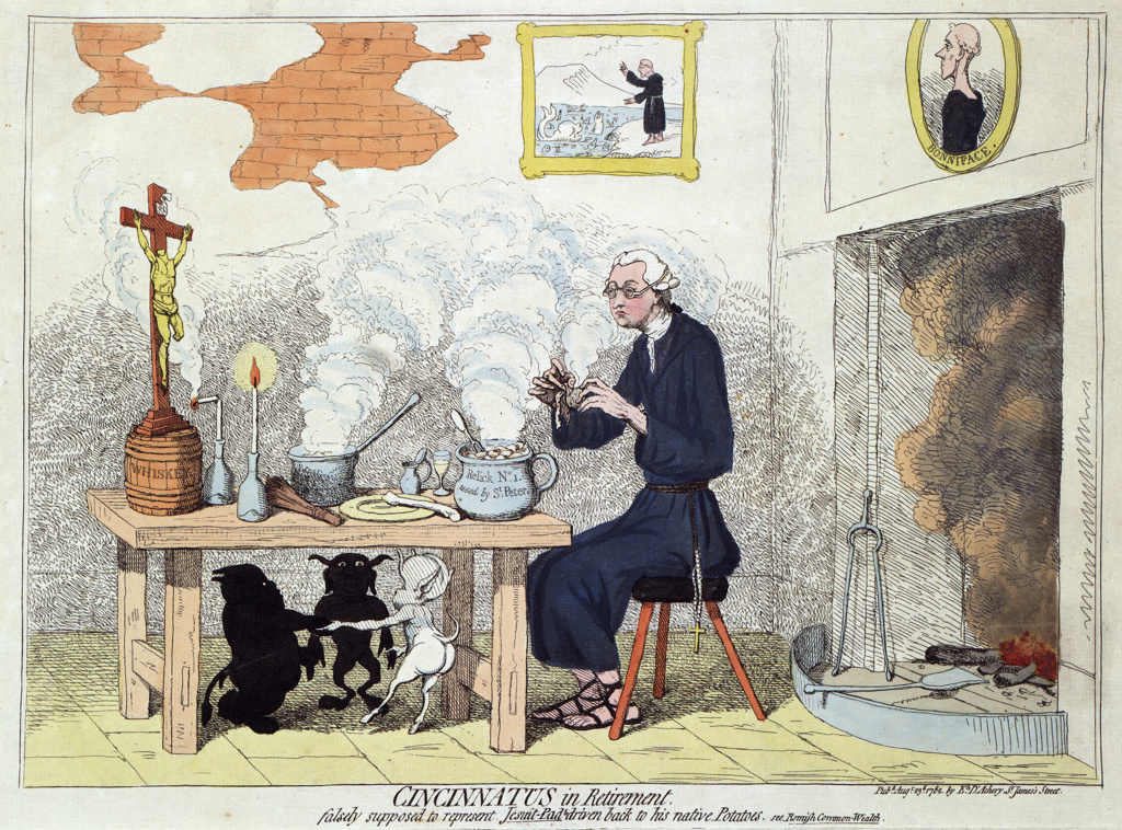 Cincinnatus in Retirement: Edmund Burke (1729-1797) Anglo-Irish statesman, out of office in 1780, shown at home as a Jesuit eating potatoes, comparing him to the Roman dictator on his farm. Devils Religion Anti-Catholic Gillray Satire : Stock Photo