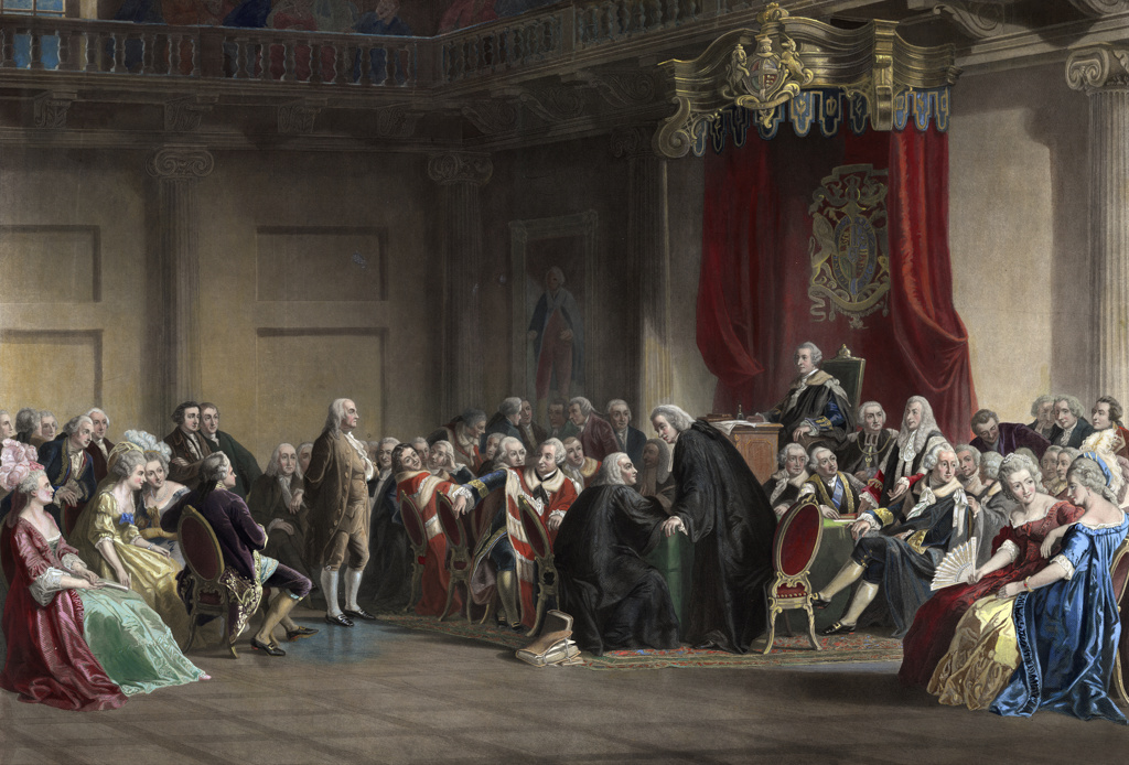 Franklin before the Lord's Council, Whitehall Chapel, London, 1774. Christian Schuessele (c1824-1879), American painter. Benjamin Franklin presenting the concerns of the American colonists. England Britain Colonialism : Stock Photo