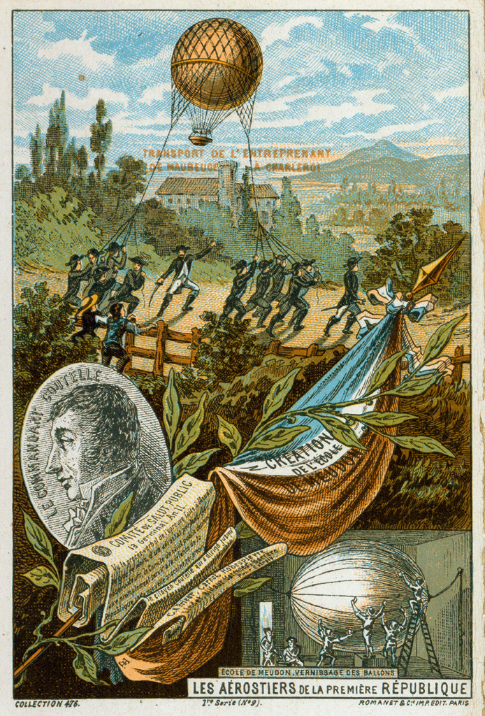 Stock Photo: 1746-3906 Jean-Marie Coutelle, Appointed Commander of Les Aerostiers, 1794.  Below right, varnishing balloon at School of Military Ballooning, Meudon. Background: Soldiers transporting inflated balloon l'Entreprenant. French Aviation