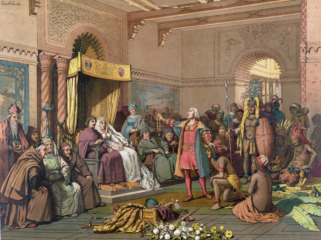 Columbus at the Court of Barcelona' before Ferdinand II of Aragon and Isabella of Castile on his return from his first voyage to the New World, February 1493, presenting treasures and Native Americans. Chromolithograph 1893. : Stock Photo